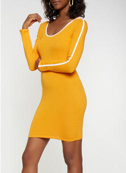 Contrast Trim Hooded Bodycon Dress - 3410066493335