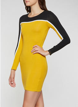 Color Block Bodycon Dress - 3410066493355