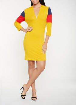 Hooded Color Block T Shirt Dress - 3410066493455