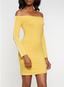 Striped Sleeve Off the Shoulder Bodycon Dress - 3410066493472