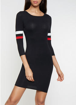 Striped Sleeve T Shirt Dress - 3410066493490