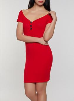 Off the Shoulder Button Detail Bodycon Dress - 3410066495139