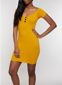 Off the Shoulder Button Detail Bodycon Dress - 3410066495139