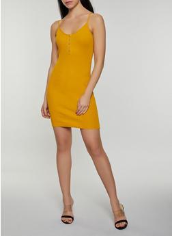 Half Button Rib Knit Cami Dress - 3410066495189