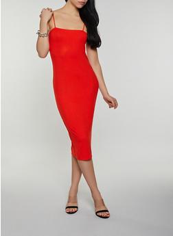 Square Neck Ribbed Knit Cami Dress - 3410066495275