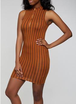 Zip Neck Striped Soft Knit Dress - 3410066495342