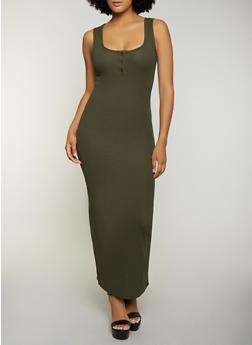 Ribbed Knit Tank Maxi Dress - 3410066495644