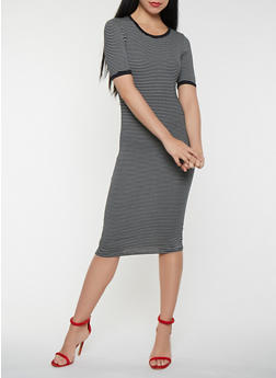 Striped T Shirt Midi Dress - 3410066496332