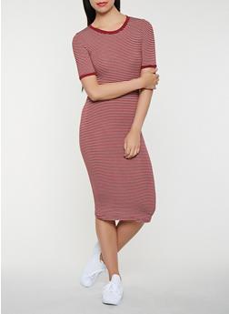 Striped T Shirt Midi Dress - 3410066496332