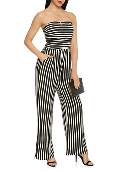 Striped Wide Leg Strapless Jumpsuit - 3410066496435