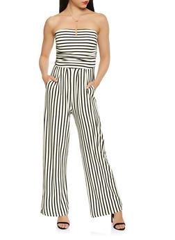 Striped Wide Leg Strapless Jumpsuit - 3410066496435