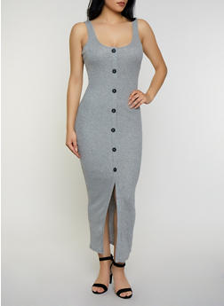 Ribbed Button Front Maxi Tank Dress - 3410066496565