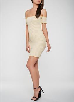 Striped Off the Shoulder Dress - 3410066497815