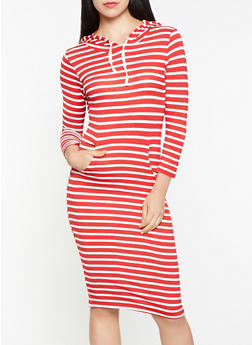 Striped Hooded Dress - 3410066498756