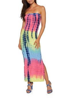 Tie Dye Maxi Tube Dress - 3410066498776