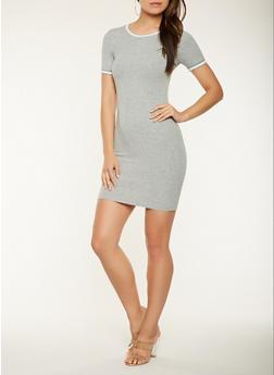 Stripe Trim Ribbed Knit T Shirt Dress - 3410066499074