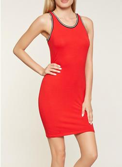 Striped Knit Trim Tank Dress - 3410066499621