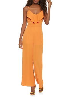 Ruffled Wide Leg Jumpsuit - 3410068194076