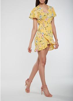 Floral Ruffle Faux Wrap Dress - 3410068194081