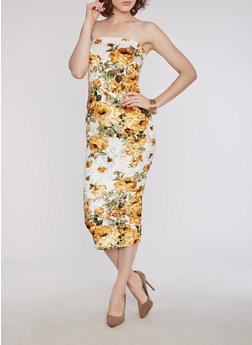 Crushed Velvet Floral Tube Dress - 3410068510043
