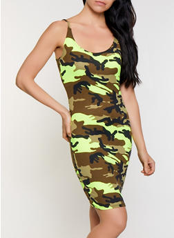 Neon Camo Print Cami Dress - 3410068510044