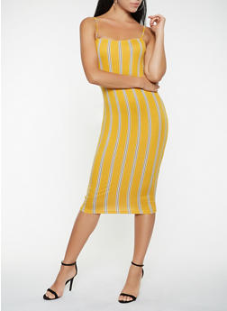 Striped Midi Tank Dress - 3410068511620