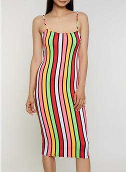 Vertical Stripe Soft Knit Cami Dress - 3410068512117