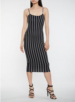 Striped Midi Tank Dress - 3410068514352