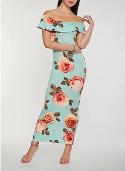 Floral Off the Shoulder Maxi Dress - 3410068514363