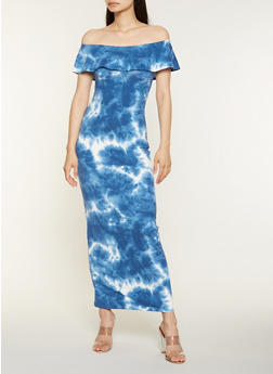Tie Dye Off the Shoulder Maxi Dress - 3410068514364