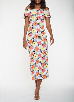 Floral Off the Shoulder Maxi Dress - 3410068514365
