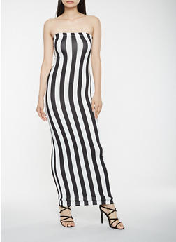 Striped Tube Maxi Dress - 3410068514366
