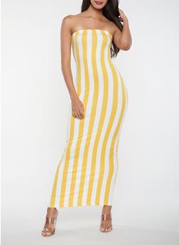 Striped Tube Maxi Dress - 3410068514366