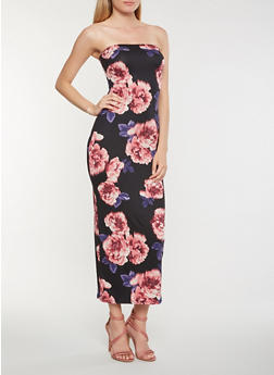 Floral Soft Knit Tube Maxi Dress - 3410068514367
