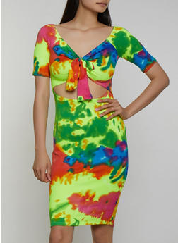 Tie Dye Cut Out Bodycon Dress - 3410068514418