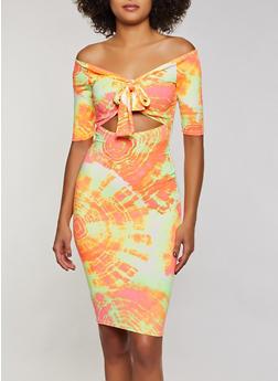 Tie Dye Cut Out Bodycon Dress - 3410068514418