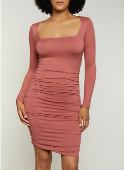 Ruched Square Neck Bodycon Dress - 3410068514421