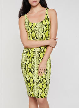 Snake Print Soft Knit Tank Dress - 3410069390124