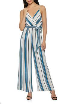 Striped Wide Leg Jumpsuit - 3410069390362