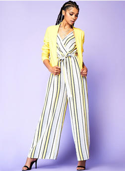 Striped Wide Leg Jumpsuit - 3410069390362
