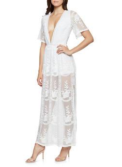 Embroidered Mesh Maxi Romper - WHITE - 3410069390400