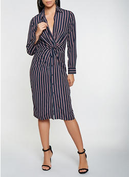 Striped Twist Front Shirt Dress - 3410069390403