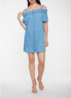 Off the Shoulder Chambray Shift Dress - 3410069390484