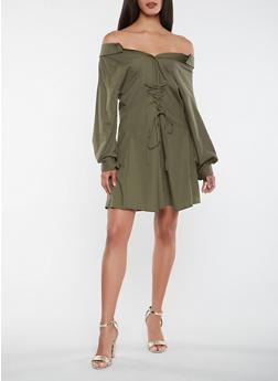 Off the Shoulder Long Sleeve Dress - 3410069390509