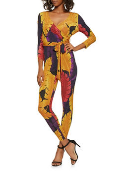 Printed Faux Wrap Jumpsuit - 3410069390521