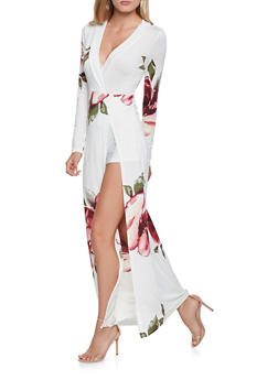 Printed Faux Wrap Maxi Dress - 3410069390540