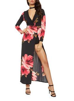 Printed Faux Wrap Maxi Dress - 3410069390540