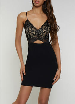 Lace Keyhole Bodycon Dress - 3410069390550