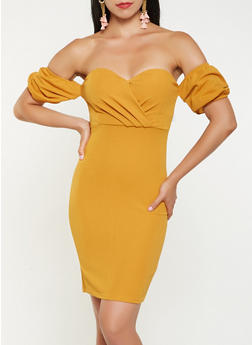 Off the Shoulder Bubble Sleeve Dress - 3410069390619
