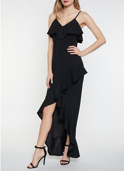 Ruffled High Low Maxi Dress - 3410069390714